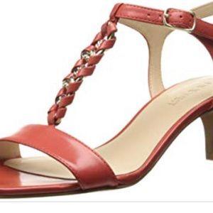 NINE WEST Yocelin Orange Leather Kitten Sandal